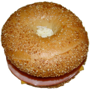 ham egg and cheese breakfast bagel sandwich